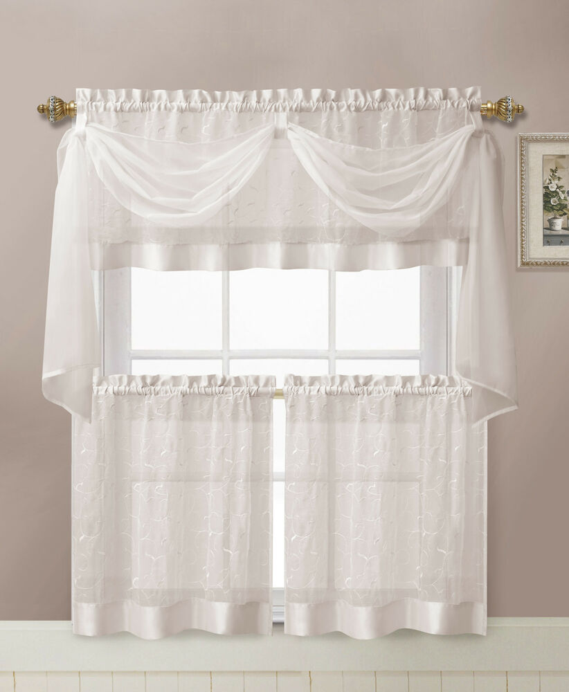 Victoria Classics® Linen Leaf Embroidered Kitchen Curtain Set ...