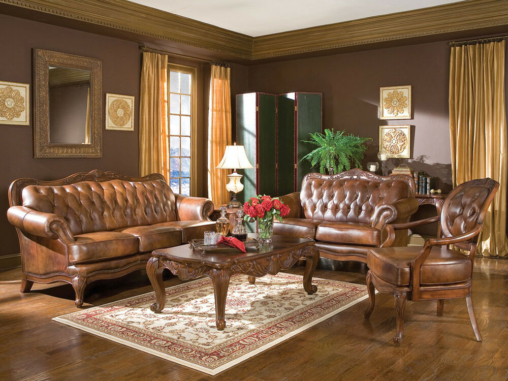 Alexander traditional genuine tufted leather sofa couch for Traditional living room ideas with leather sofas