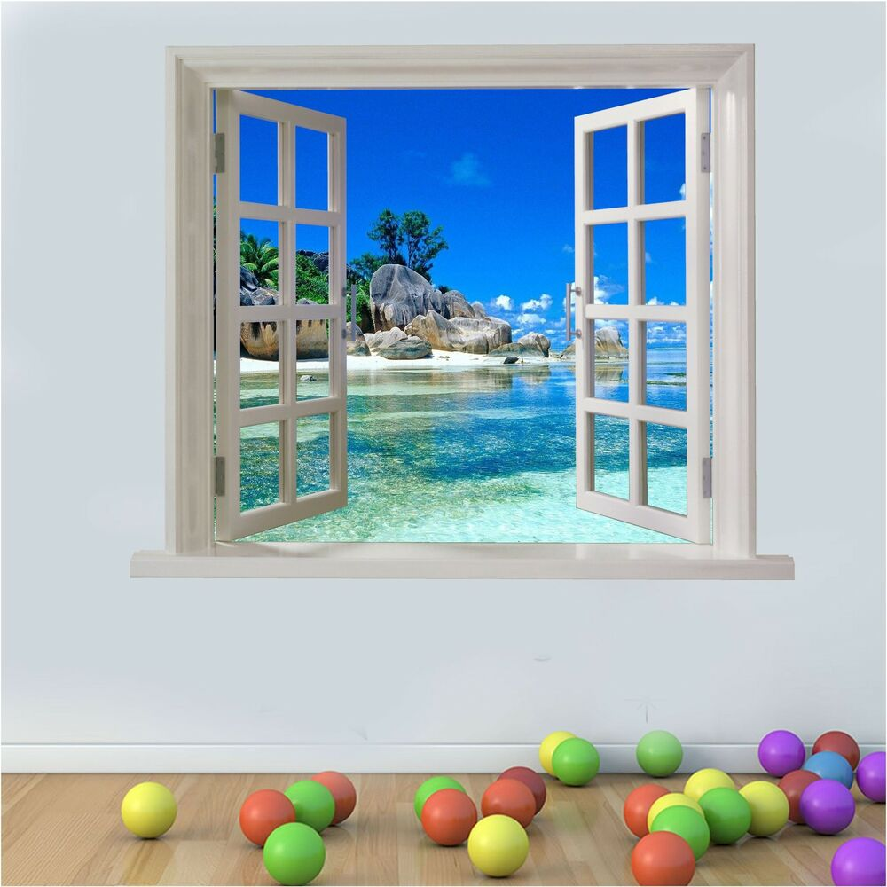 Wall Art Graphic Paradise Beach Tranquil View Faux Window