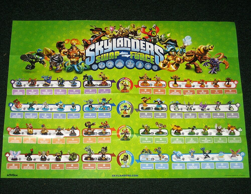 Skylanders swap force starter poster shows all 56 figures stink bomb spy rise ebay - Tous les skylanders ...