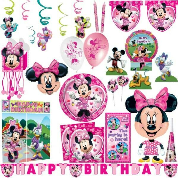 disney minnie maus kindergeburtstag kinderparty minni mouse geburtstag deko set ebay. Black Bedroom Furniture Sets. Home Design Ideas