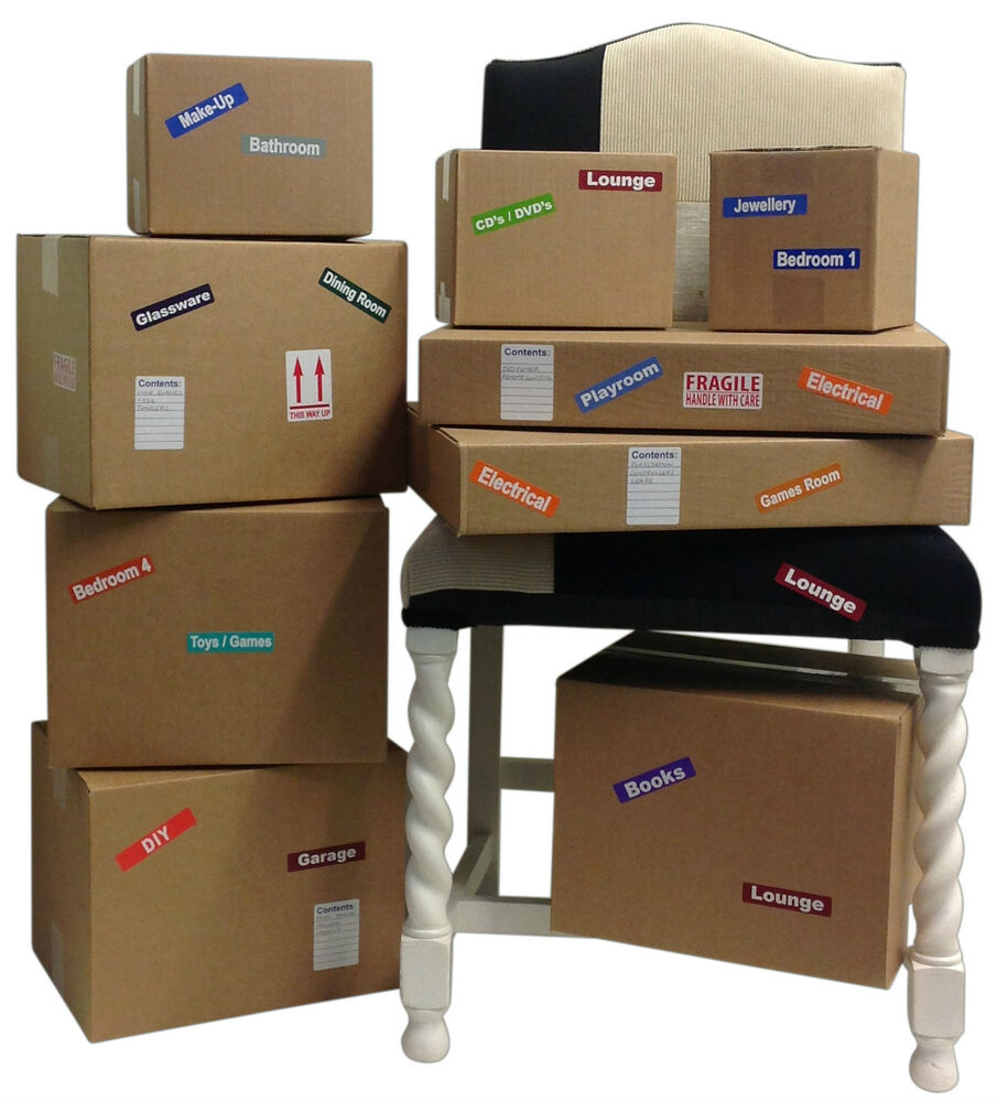 Moving Home Coloured Stickers For Packing Removal Cardboard Boxes Furniture Ebay