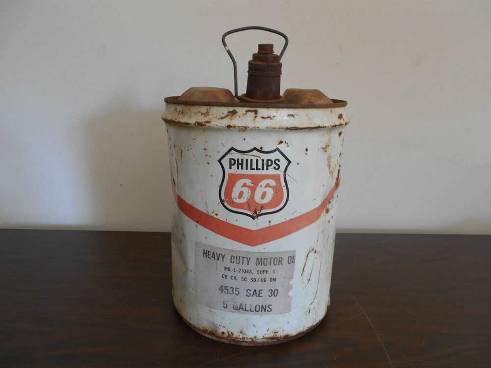 Vintage phillips 66 5 gallon heavy duty motor oil can ebay for Gallon of motor oil