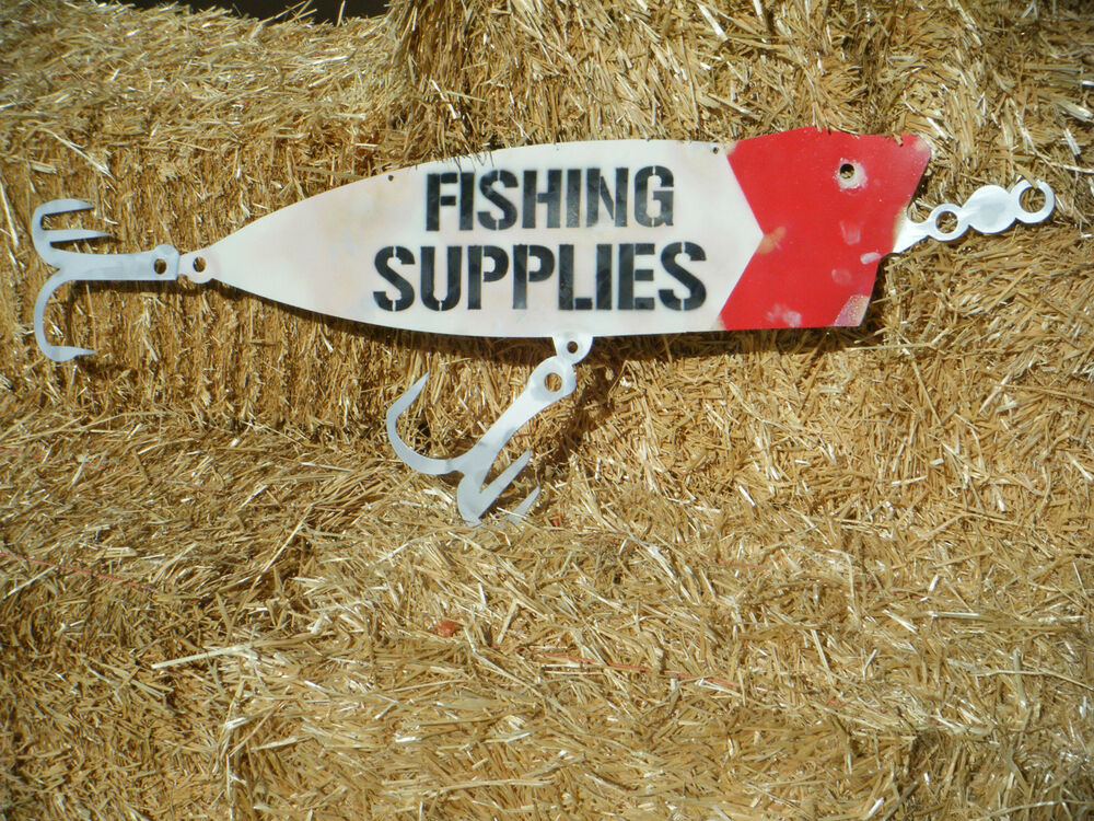 Fishing supplies metal sign ebay for Fishing equipment stores