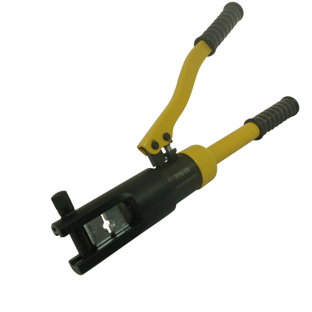 new 12 ton hydraulic cable crimper wire crimping tool pliers w 8 piece die set ebay. Black Bedroom Furniture Sets. Home Design Ideas