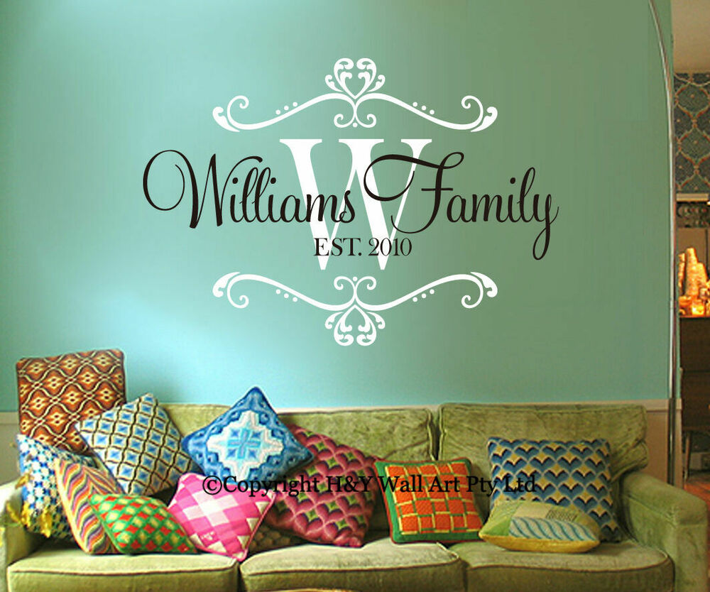 Custom Personalised Family Name Wall Stickers Decor Art