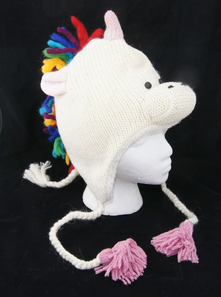 Knitting Pattern For Unicorn Hat : Rainbow UNICORN HAT knit Pink delux HIGH QUALITY Mohawk Fl Lined Costume ADUL...