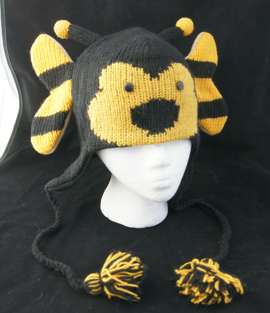 Bumblebee Hat Knit Adult Bumble Bee Animal Unisex Ski Cap Costume