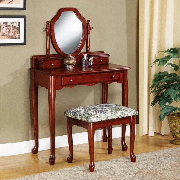 Elegant 2 pc sleek cherry mirror makeup table vanity set for Vanity table with drawers no mirror