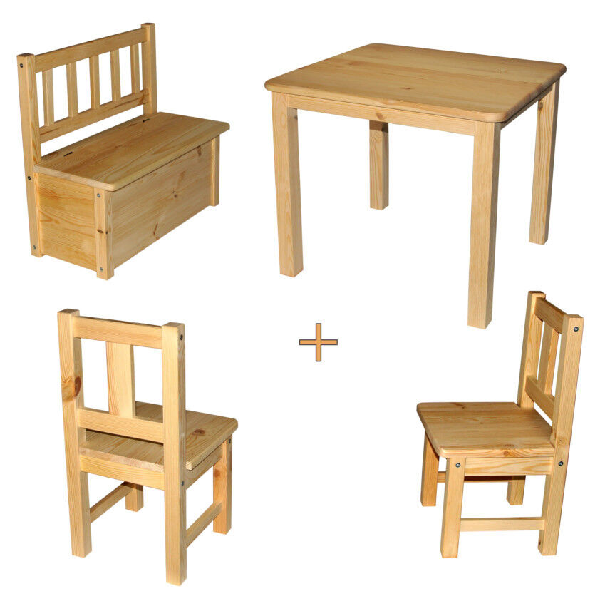 kindersitzgruppe 1x kindertisch 2x kinderstuhl 1x kinderbank massivholz neu ebay. Black Bedroom Furniture Sets. Home Design Ideas