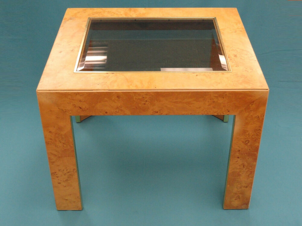 Chic 70s milo baughman era burl wood brass trim coffee for Coffee tables 70s