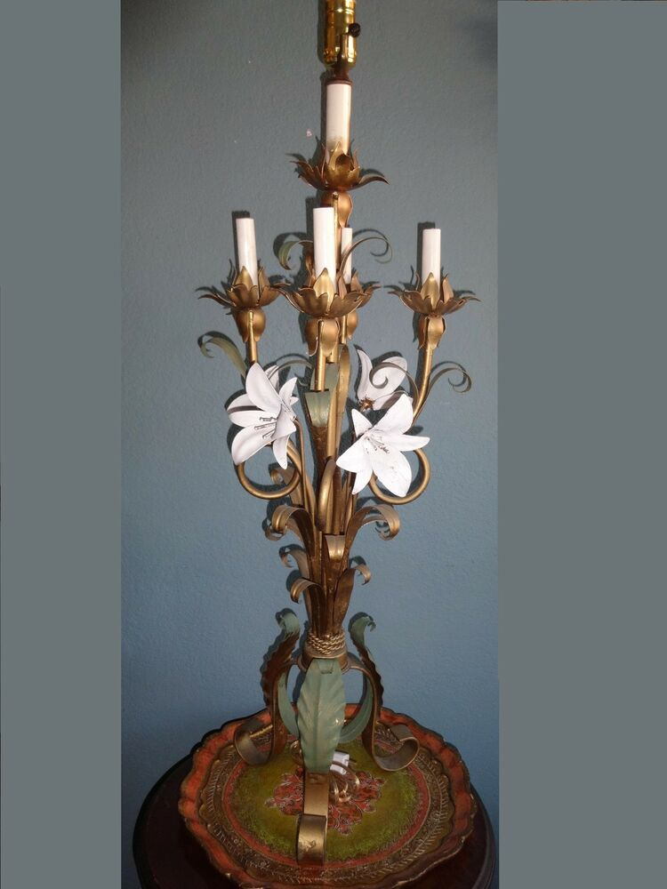 Vintage Italian Tole Candelabrum Table Lamp Lily Lilies