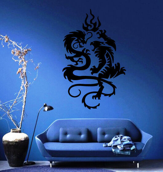 Dragon vs tiger tribal decor wall mural vinyl art sticker for Dragon mural for wall