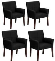 SET OF 4 BLACK LEATHER BOX ARM GUEST RECEPT. OFFICE CHAIRS WITH MAHOGANY LEGS
