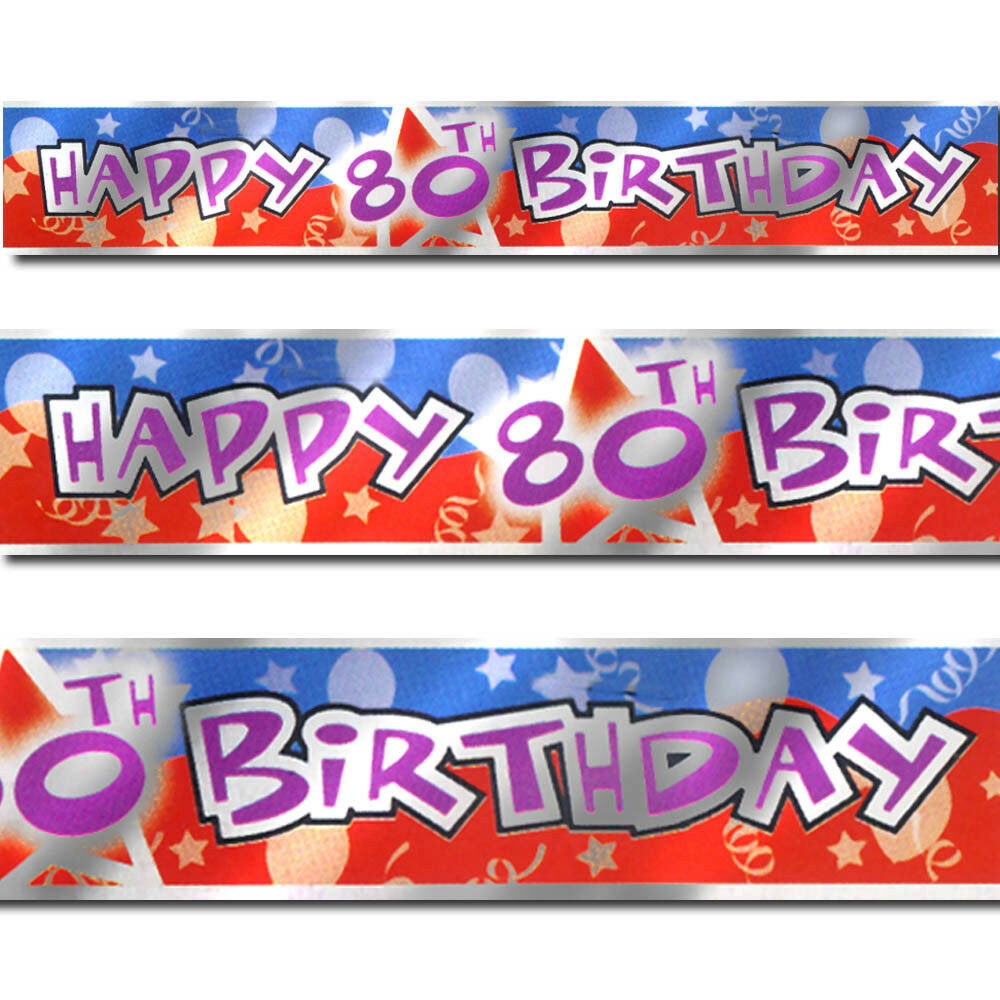 12ft Blue Red Happy 80th Birthday Party Foil Banner