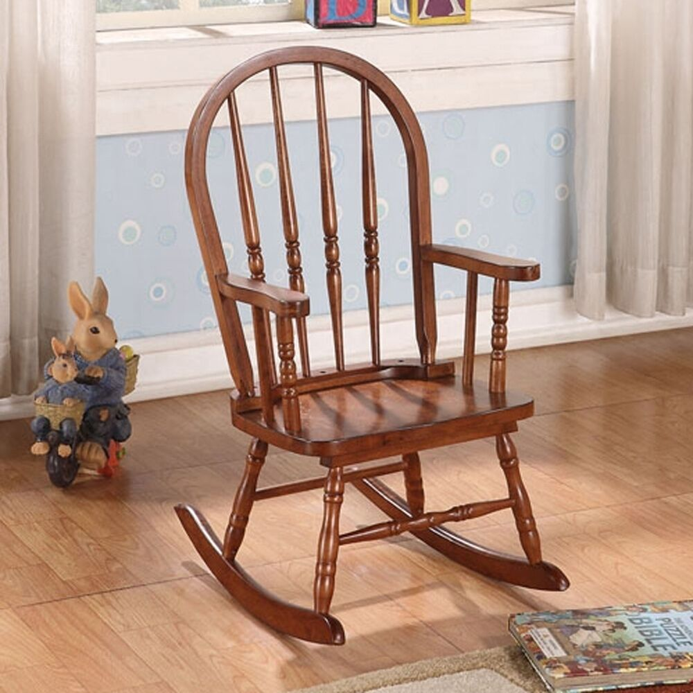Kloris Collection Youth Kids Wood Rocking Chair In Tobacco