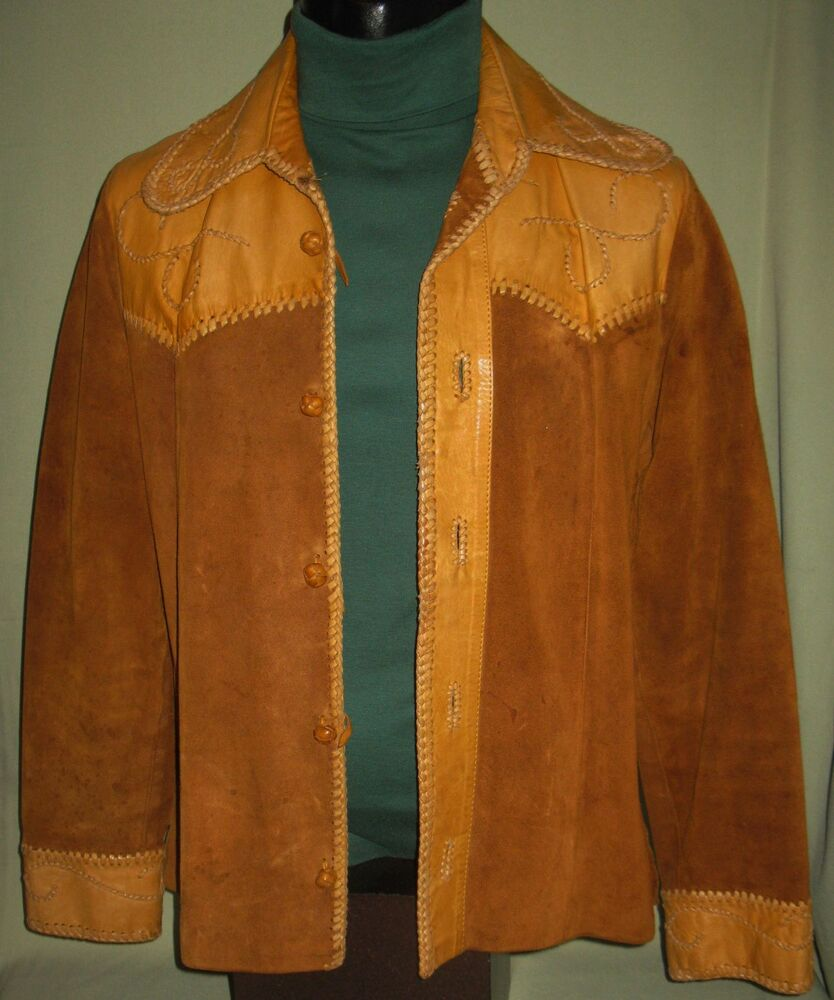 Vintage mens womens western style leather shirt jacket for Leather jacket and shirt