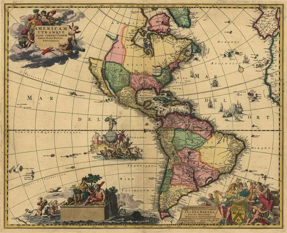A1 Old Antique 1700 Map North South America by van Keulen ...
