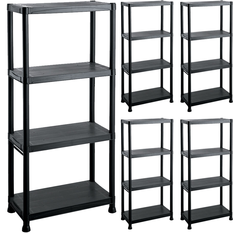 4 x 4 tier plastic shelving unit storage garage racking for Attaching shelves to plastic shed