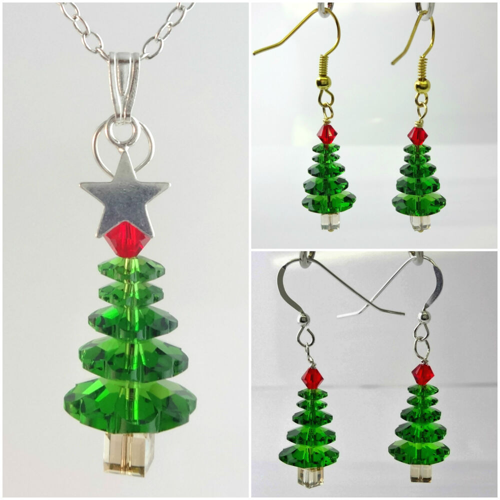 Crystal Christmas Tree Necklace Earrings Made with ...