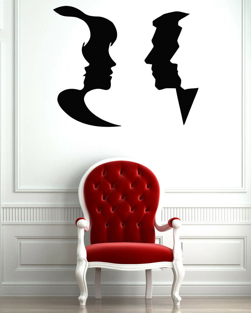Male And Female Face Friendship Mural Wall Art Decor Vinyl