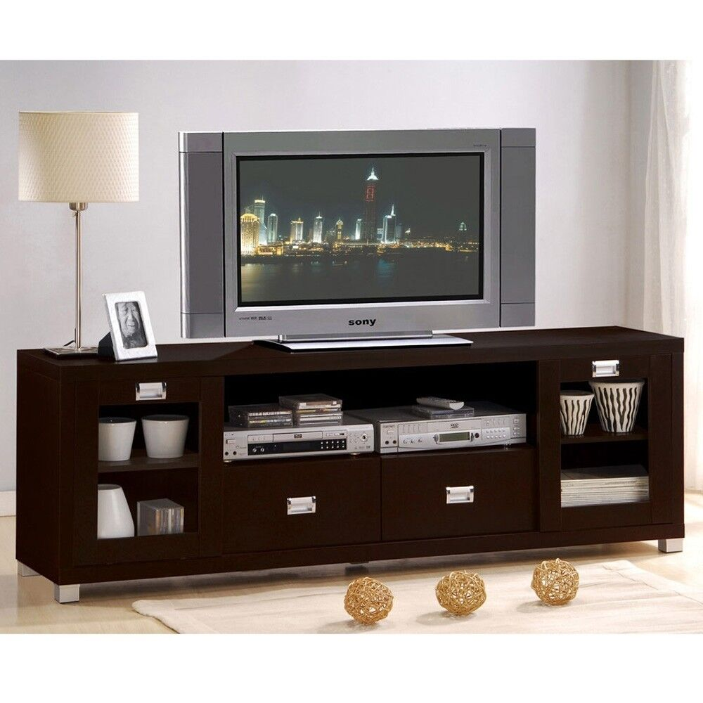 contemporary commerce espresso finish tv stand cabinet. Black Bedroom Furniture Sets. Home Design Ideas