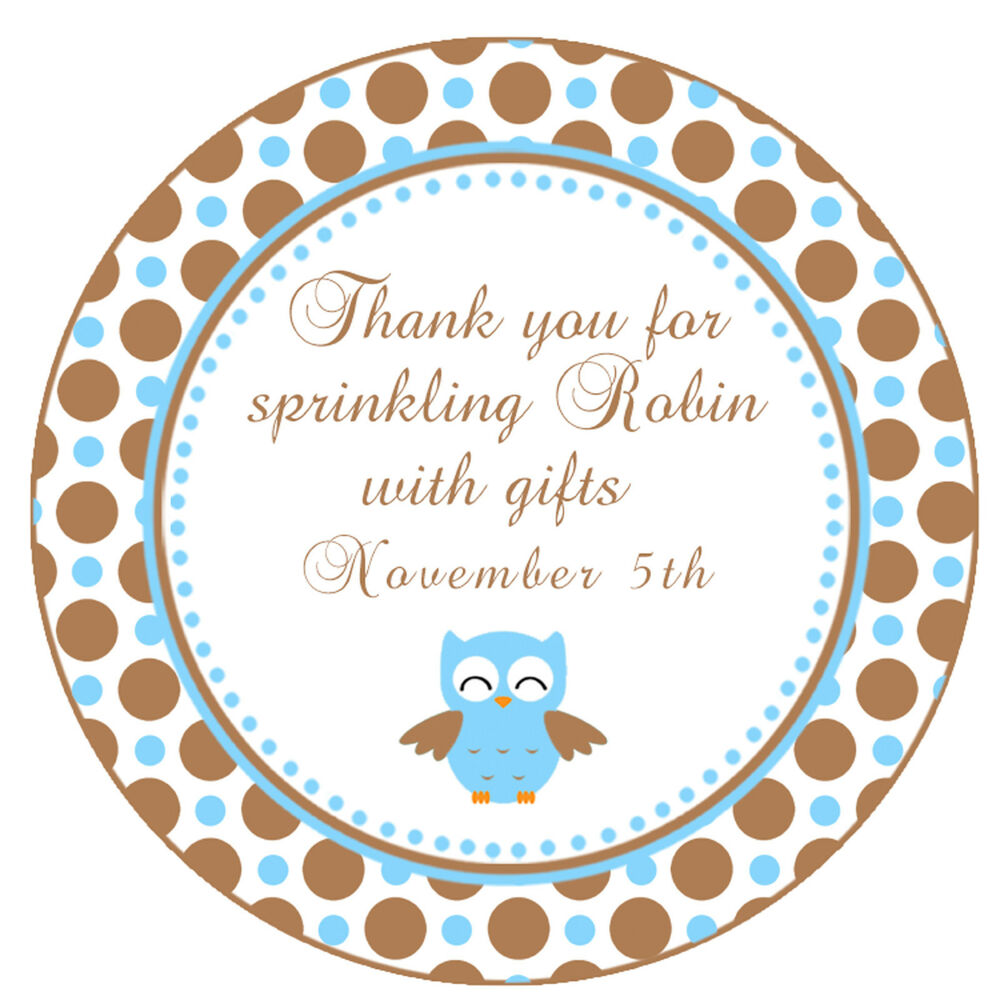 Baby Shower Stickers For Favors: 40 Stickers Thank You Labels Bird Owl Birthday Party