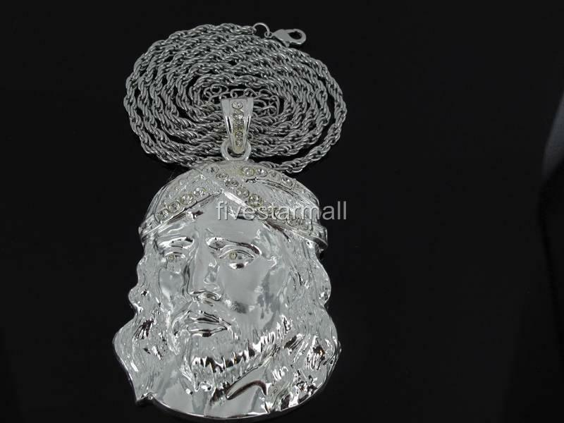 Silver tone pendant charm 36 quot rope chain necklace hiphop bling ebay