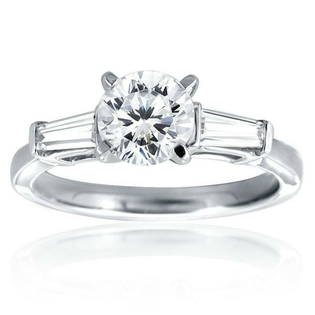 Stainless Steel Round & Baguette Accents CZ Engagement ...
