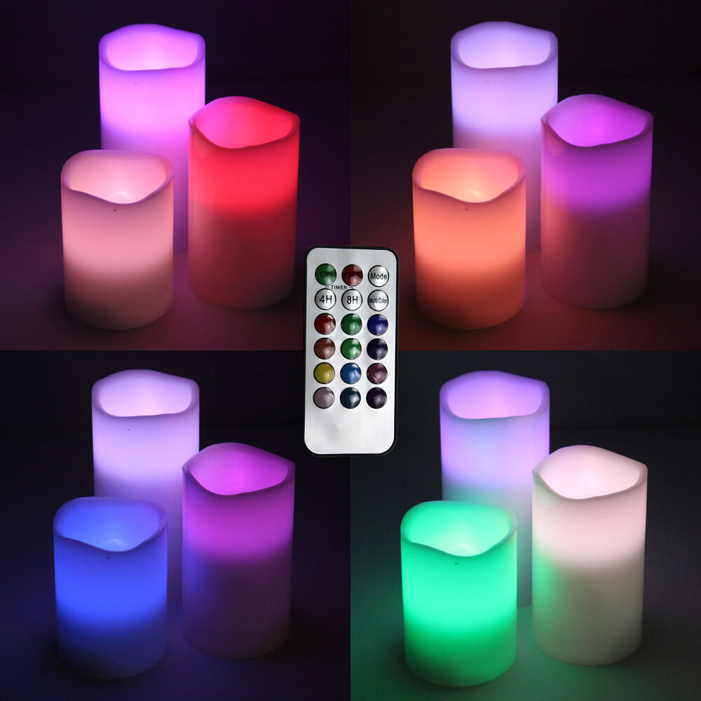 3 Pcs Flameless Color Changing Wax Led Pillar Candle Remote Control 4 8 Hr Timer Ebay