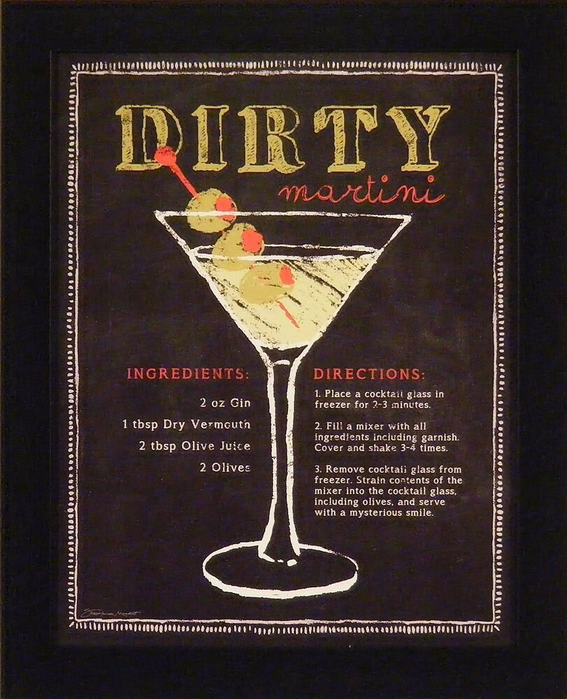 DIRTY MARTINI By Stephanie Marrott 13x16 FRAMED PICTURE