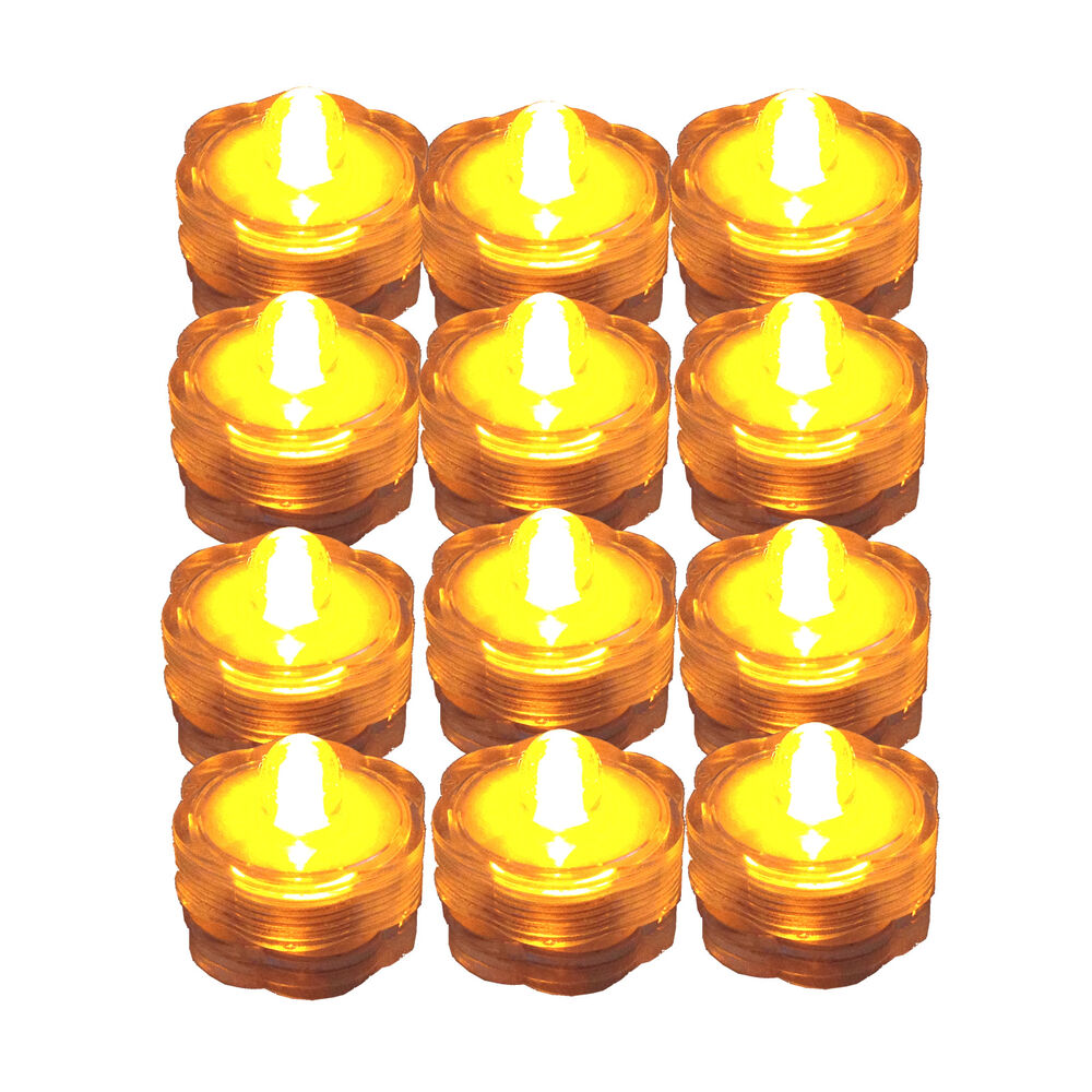 Fairy String Lights Submersible Waterproof Battery Pack Led Cool White : Submersible Waterproof Battery LED Tea Light ~ Wedding Decoration~Amber~ 12 Pack eBay