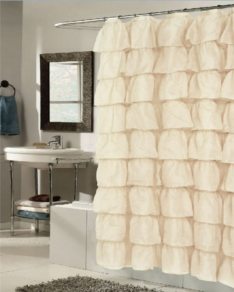 betty ruffled fabric shower curtain crushed sheer fabric beige brown white gold ebay. Black Bedroom Furniture Sets. Home Design Ideas