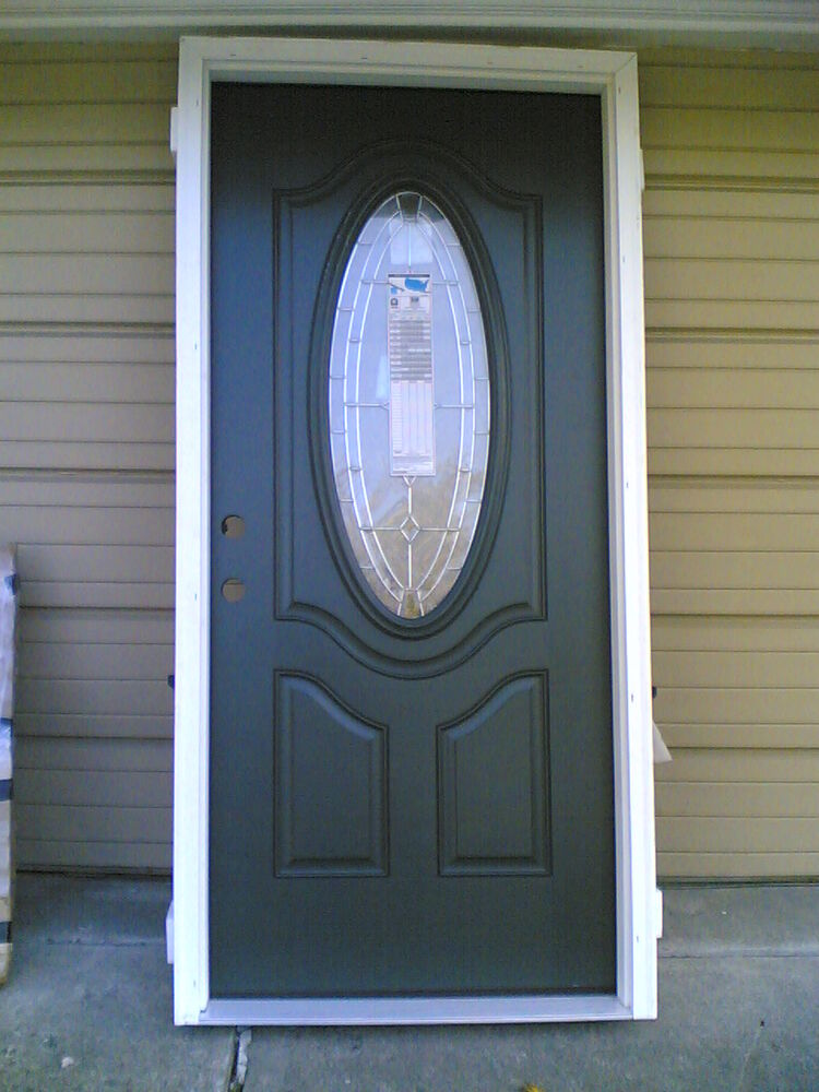 New elegant home 36 x80 fiberglass exterior door w oval for Glass door frame
