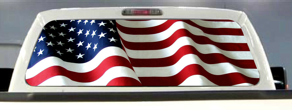 American Flag Pick Up Truck Rear Window Graphic Decal