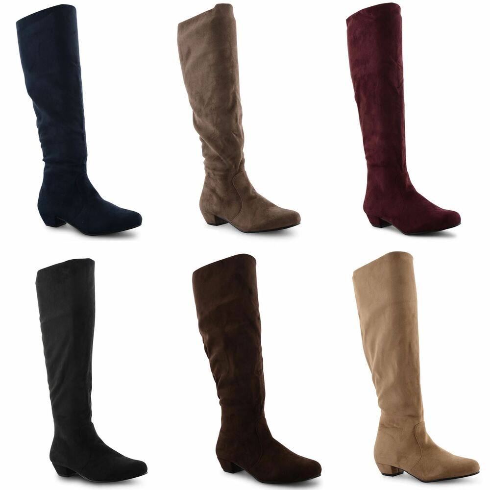 womes knee high boots flat heel faux suede pull on