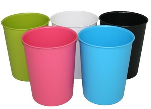 Vibrant plastic waste storage paper dust rubbish bin bins for Pink bathroom bin