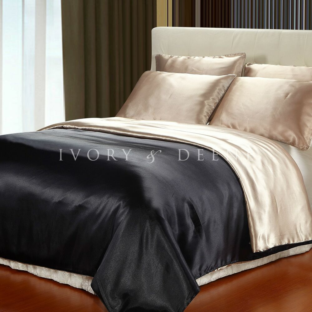 satin reversible doona quilt duvet cover black champagne. Black Bedroom Furniture Sets. Home Design Ideas