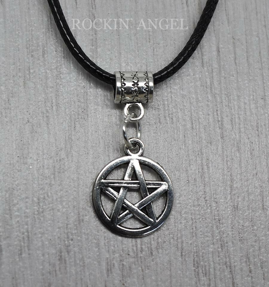 """Tibetan Silver Pentagram on an 18"""" Real Leather Necklace ..."""
