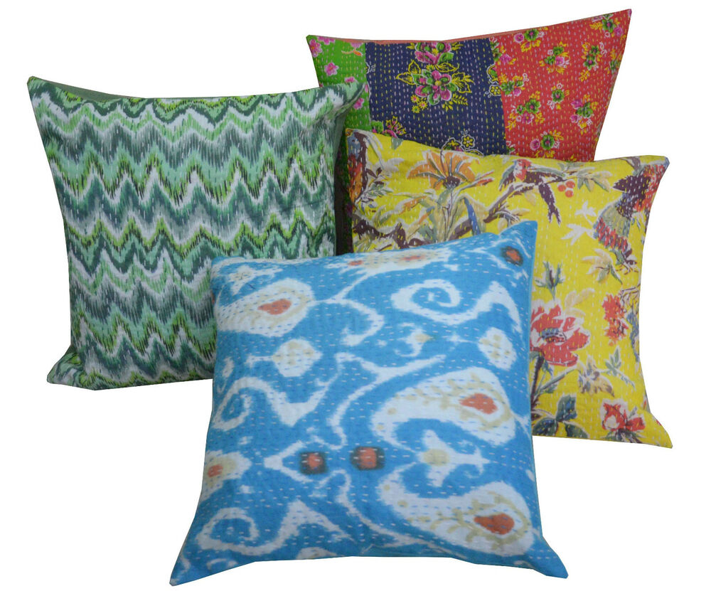 wholesale lot 10pc kantha cushion cover cotton pillow covers handmade india ebay. Black Bedroom Furniture Sets. Home Design Ideas