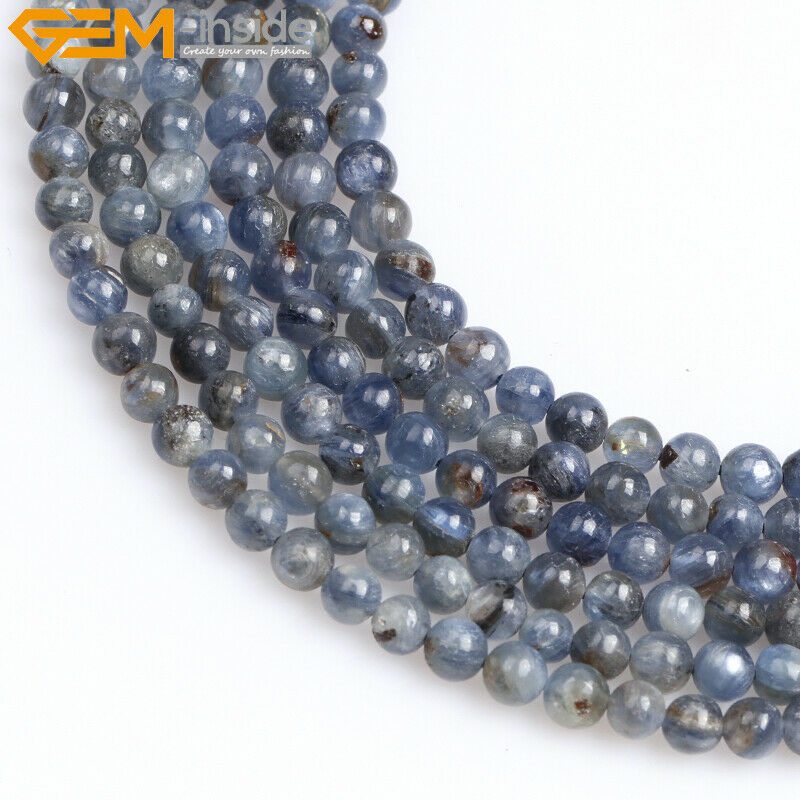 natural stone round blue kyanite gemstone beads for