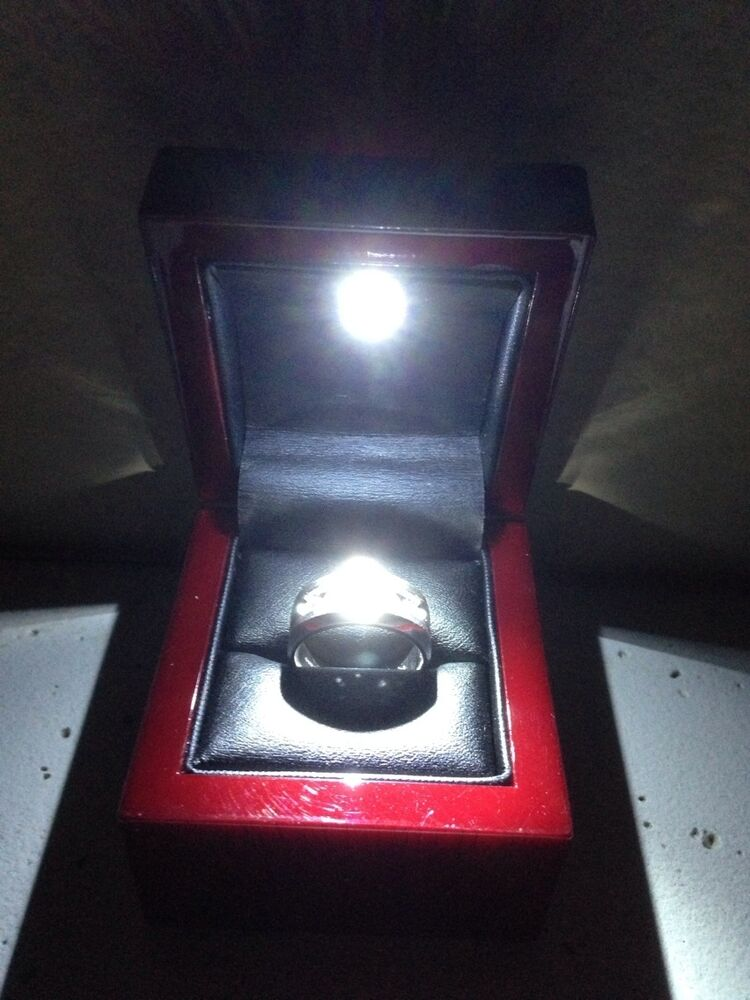 rosewood jewelry ring box with led light lighted best