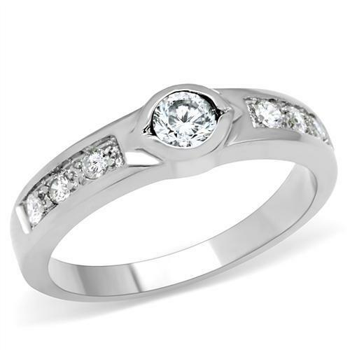 Stainless Steel Round Channel Bezel Set Cz Promise