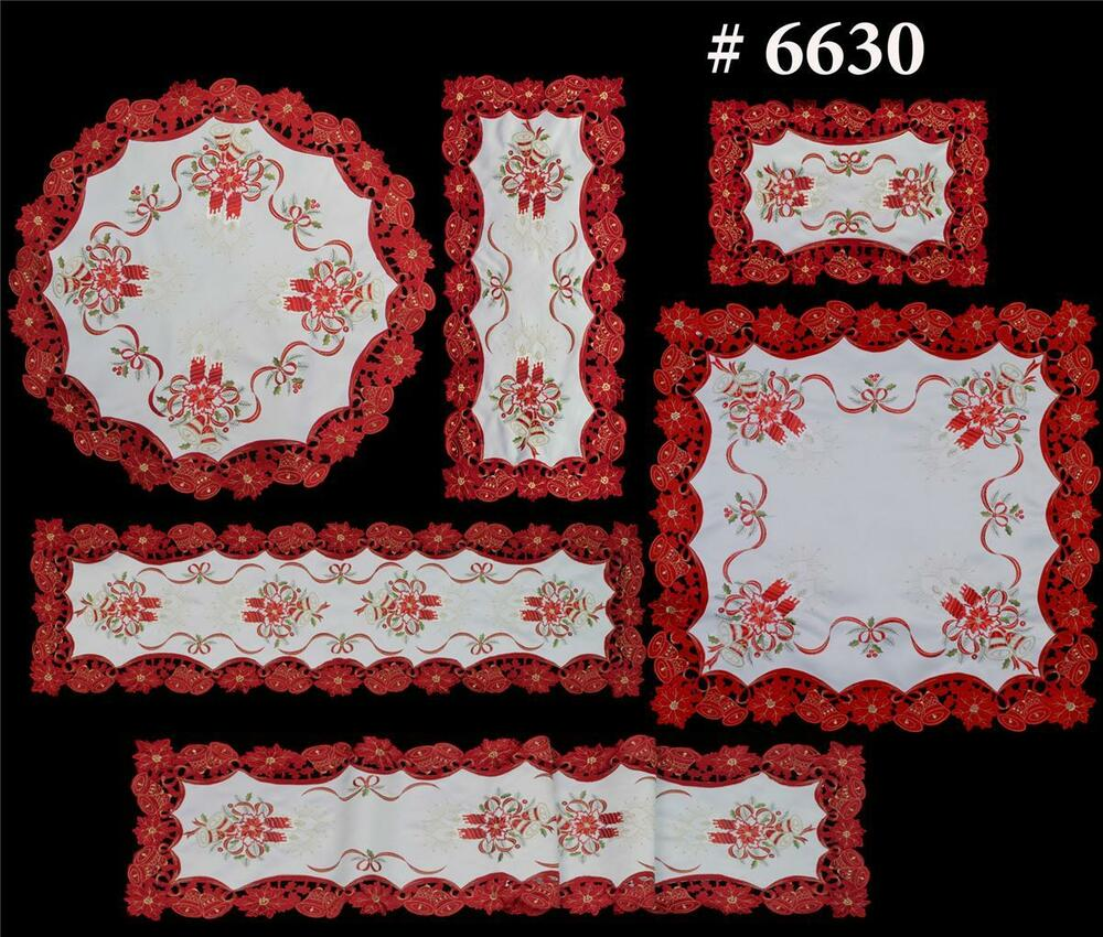 Christmas Poinsettia Placemat Table Cloth Runner