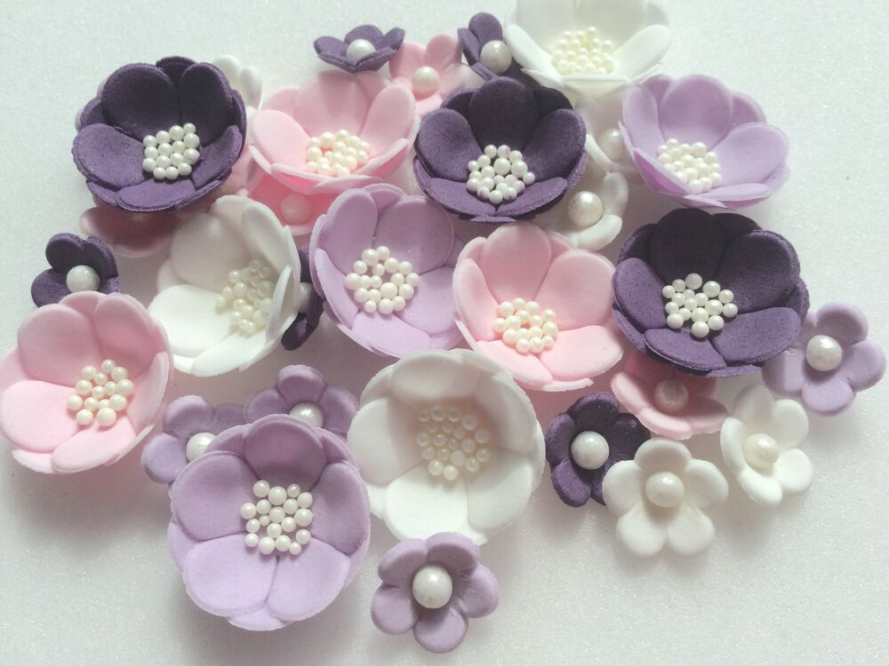 Cake Decorations Flowers Uk : VIOLET PINK & LILAC PETAL handmade edible sugarpaste cake ...