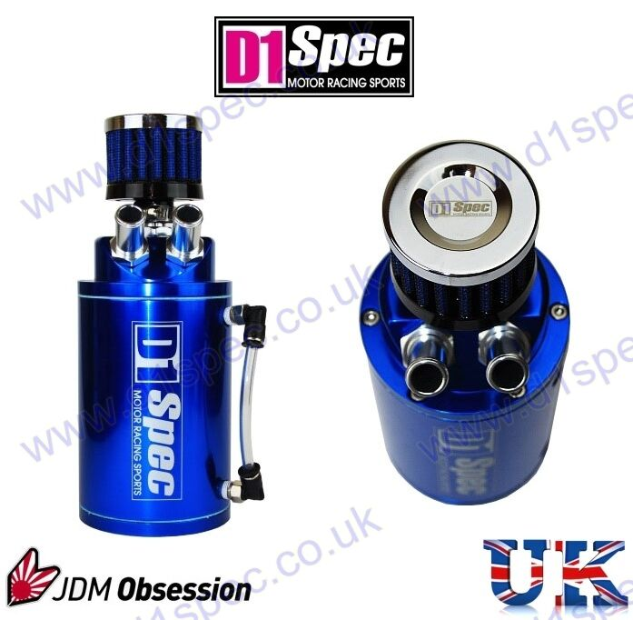 d1 spec universal oil catch tank with air filter blue 9mm. Black Bedroom Furniture Sets. Home Design Ideas