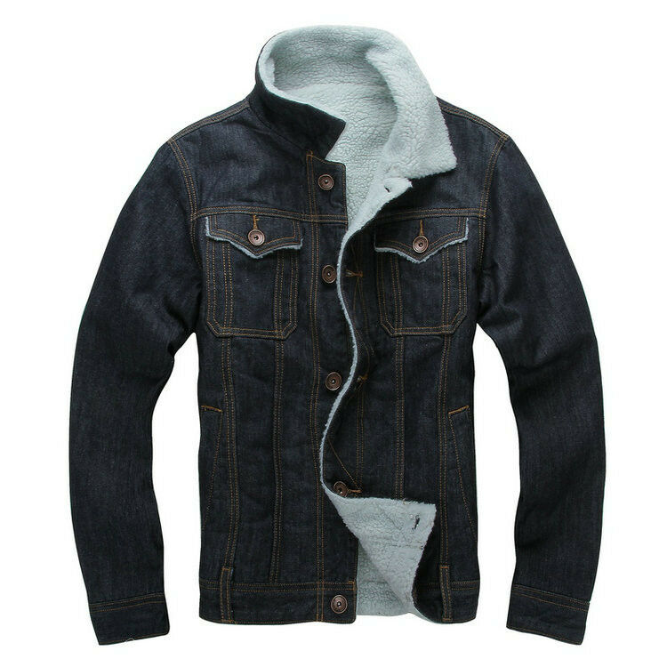 Men S Casual Dark Blue Sherpa Lined Thick Winter Denim