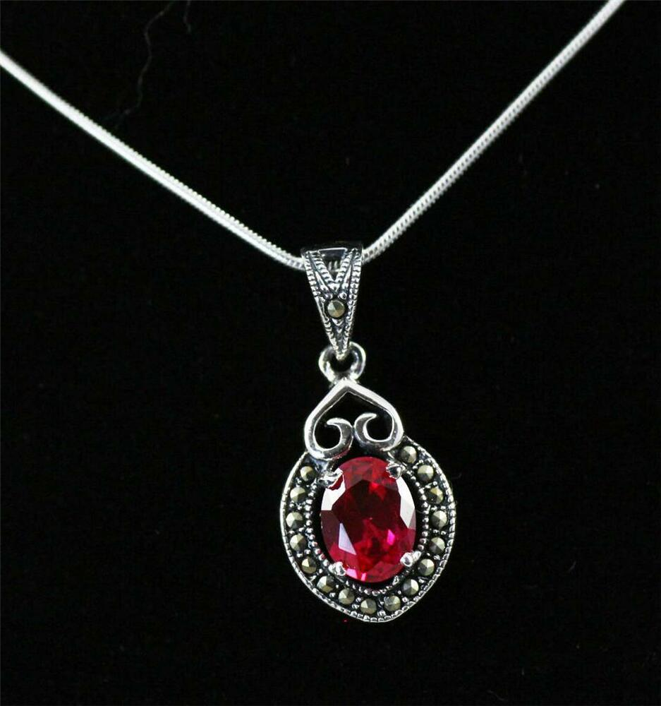 stunning solid 925 sterling silver cut ruby marcasite