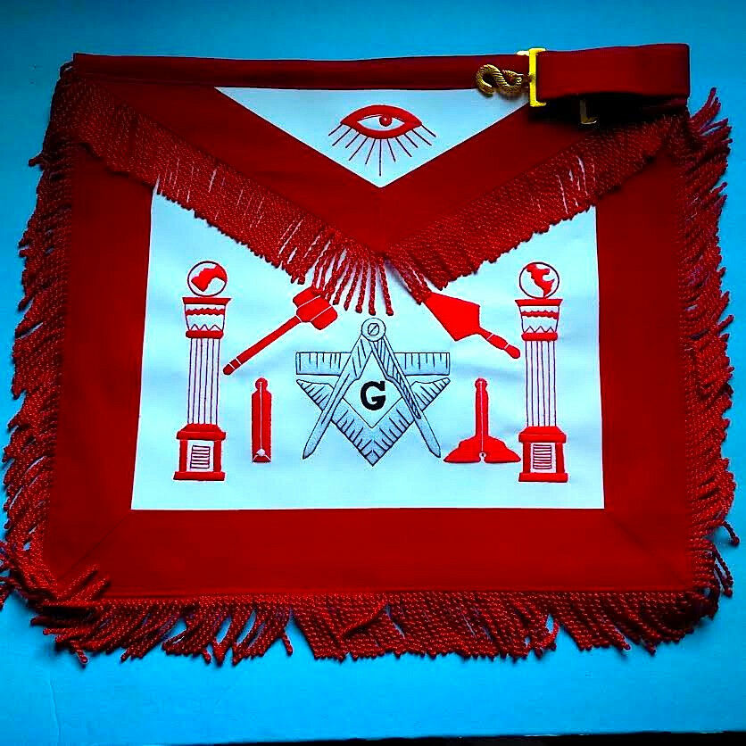 Master Mason Working Tools Apron White And Red Threads