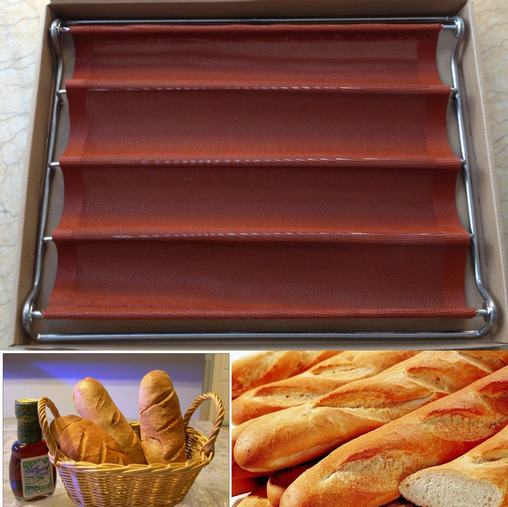 Nonstick Perforated Baguette French Bread Loaf Tray 4